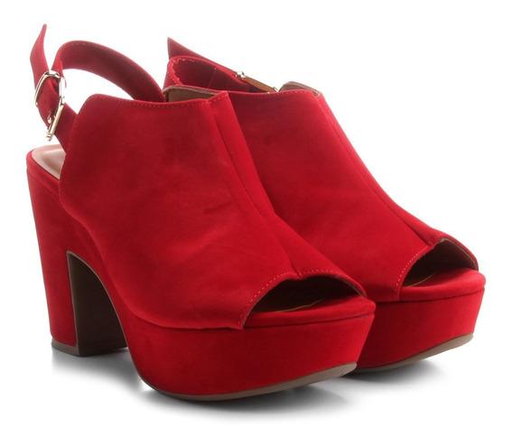 Sandália Bebecê Feminina Vermelha Open Boot