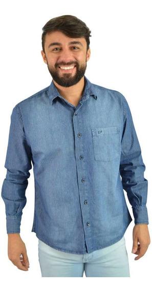 Camisa Jeans Masculina Azul Com Listras - Não Perca