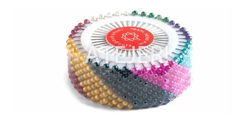 Alfileres Cabeza Perlado De Colores 12 Rosetas 40 Unid C/u