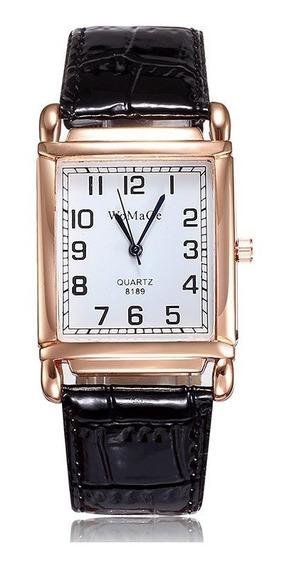 Relógio Rosê Rg009f Retangular Pulseira Preto Promoção!!!