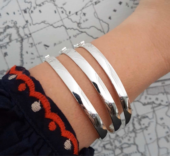 3 Bracelete Grosso Prata 925