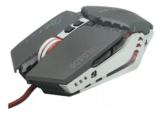 Mouse Óptico Gamer Usb 6 Botões Led Rgb X Soldado 2400 Dpi