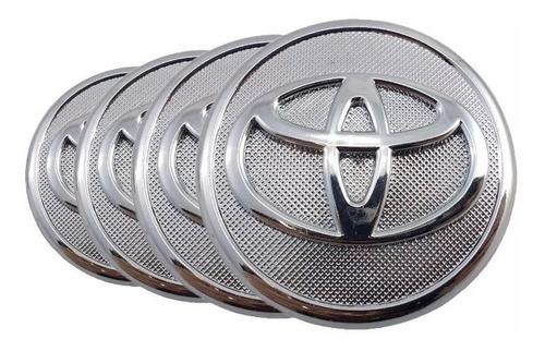 Imagem 1 de 4 de Kit 4 Calota Miolo Tampa Centro De Roda Toyota Corolla Cromo