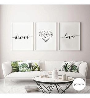 Set De Cuadros Decorativos | Dream Love 30x40cm-