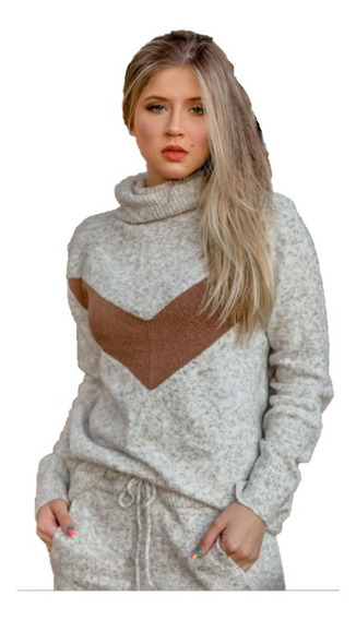 Conjunto Blusa E Calça De Trico Mousse Feminina