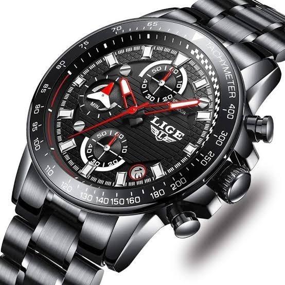 Relógio Masculino 9837 Lige Preto Original C/ Caixa + Brinde