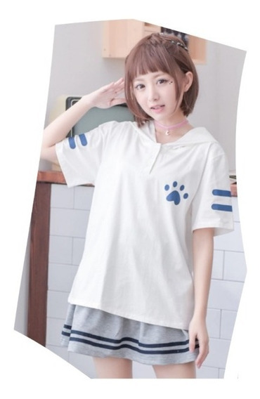 Blusa Playera Neko Gato Atsume Manzokusan Cute Kawaii Anime
