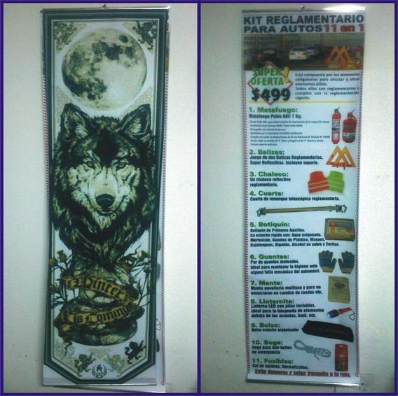 Banner Cartel Lamina Color 30x110 Envarillado Para Colgar $