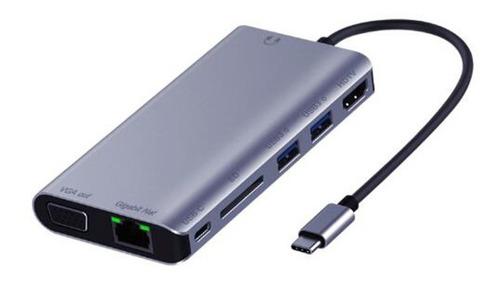 Hub Usb C Multipuerto Hdmi 4k / Vga / 2x Usb 3.0 / Red / Sd / 3.5mm Audio / Puerto De Carga / 8 En 1
