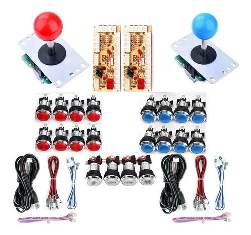 Kit Arcade Usb 2 Palancas 20 Botones Iluminados Microswitch