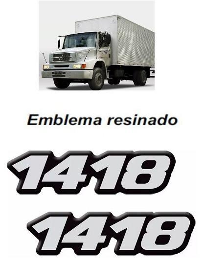 Kit Emblema Adesivo Caminhão Mercedes Benz 1418 Reticulado