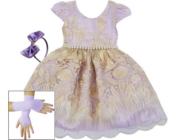Vestido De Festa Infantil Luxo Realeza Lilás Renda Dourada