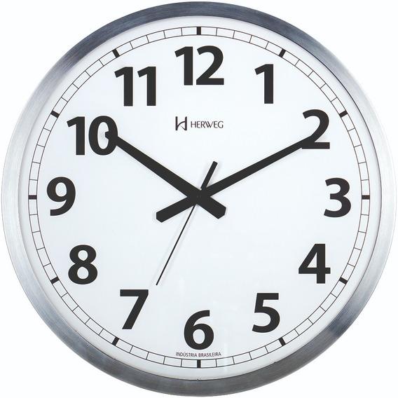 Relógio Parede 36cm Grande Alumínio Tictac Herweg 6712