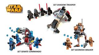 Star Wars. Pack De 3 Sets Tipo Battlepack. Lego Compatible.
