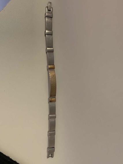 Pulseira Inox Com Ouro 18k
