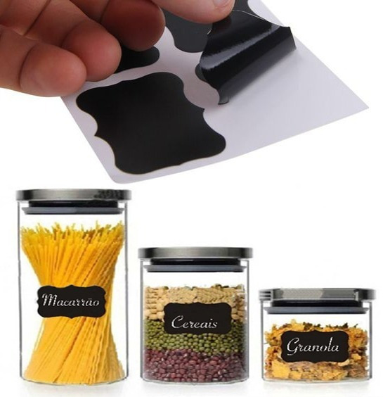 Conjunto De Etiquetas Rótulo Para Vidro Tempero Pote Cozinha