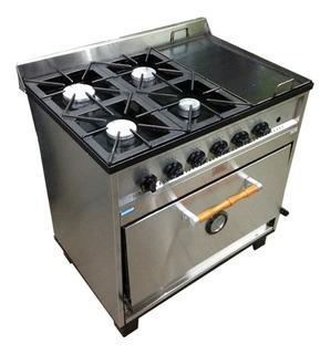 Cocina Industrial Tecnocalor 4 H + Plancha Horno Pizzero