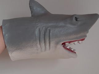 Tiburón Goma Largo 21 Cm Flexible Puppet Marioneta Títere