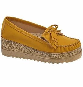 Zapato Mocasín Mujer Altura 5.5 Cm Plataforma Yute 824893