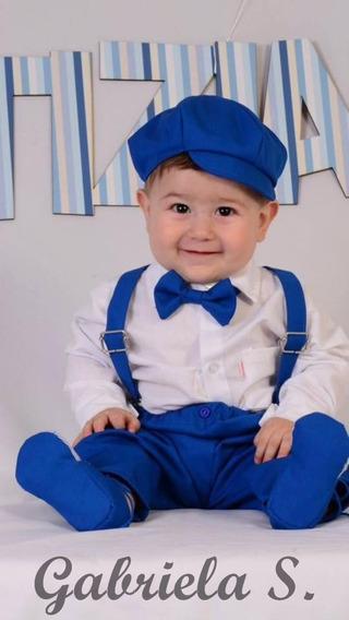 Set Formal De Bebé: Boina, Moño, Pantalón Y Tiradores.