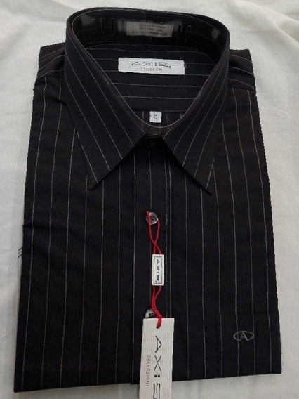 Camisa Axis By Manchester Color Negra Rayada Cuello 18 (46)