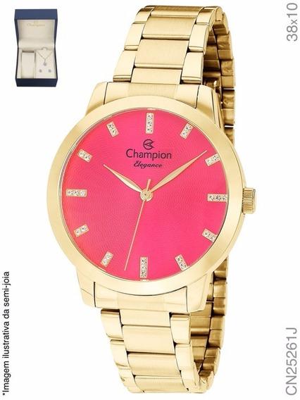 Kit Relógio Champion Dourado Passion Analógico Cn25261j