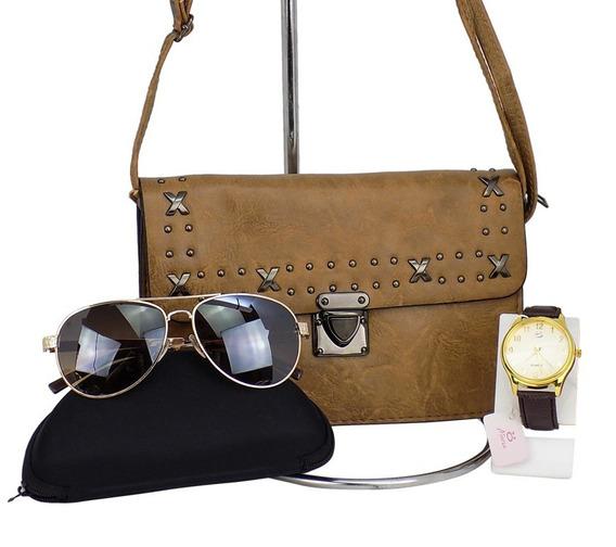 Kit Bolsa Feminina +óculos Aviador +relógio Dourado Atacado