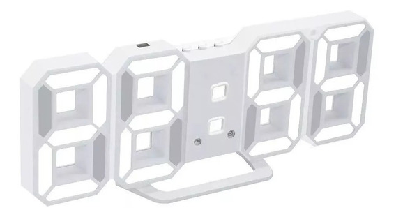 Reloj Digital Luminoso Números Led 3d, Alarma, Blanco, Usb