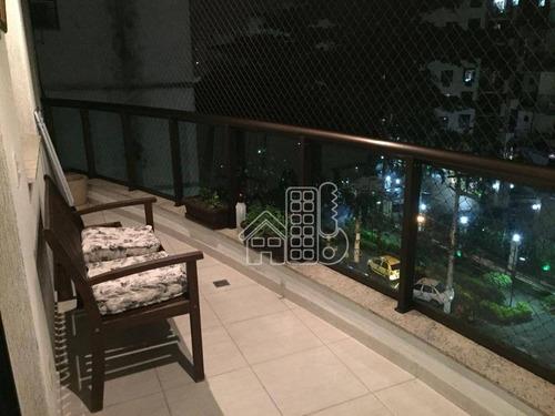 Apartamento Com 3 Dormitórios À Venda, 87 M² Por R$ 580.000,00 - Santa Rosa - Niterói/rj - Ap1801