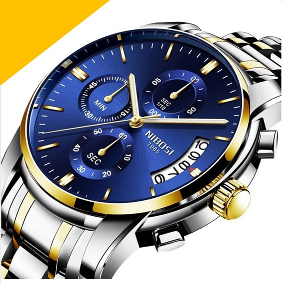 Relogio Nibosi Original Dourado Misto Azul Social R75 Lxbr