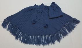 Kit Poncho E Touca Em Tricot Na Cor Azul Jeans