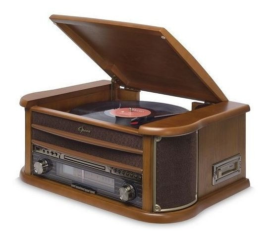 Toca Discos Vitrola Hi-fi Raveo Opera Bt Cd Rádio Fm K7 Usb