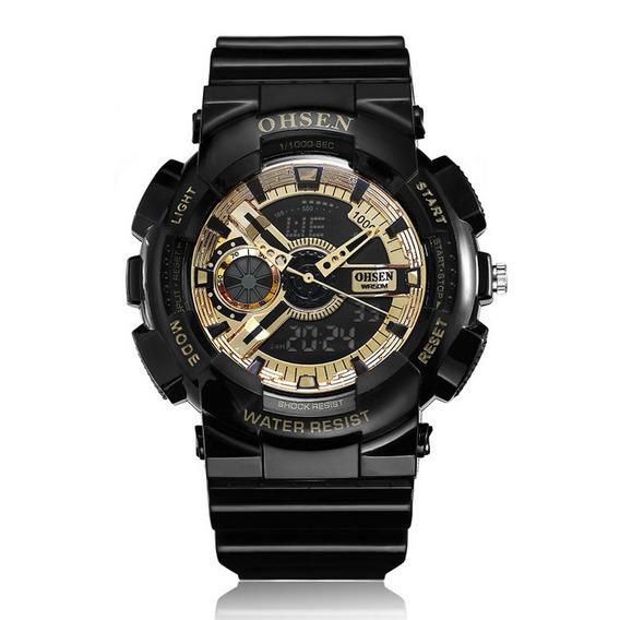 Ohsen Ad1803 Dual Exibição Digital Relógio Homens Esporte Lu