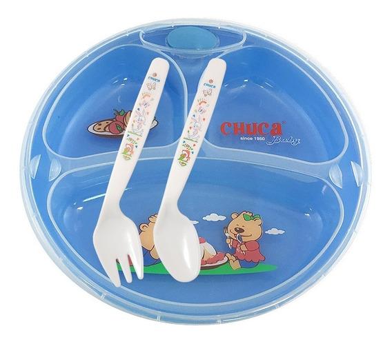 Prato Térmico Infantil Chuca Baby - 3 Divisões - Azul