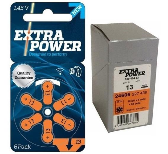 60 Pilhas Baterias Aparelho Auditivo Modelo 13 - Extrapower