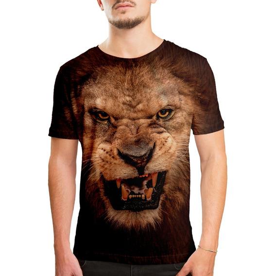 Camiseta Masculina Big Face Leão Estampa Digital