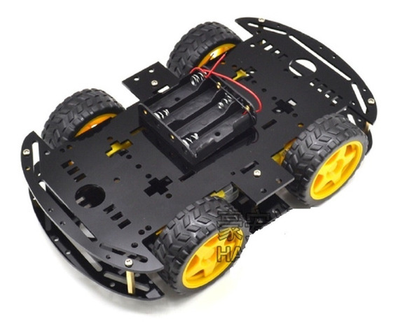 Kit Chassi 4wd Rodas Robótica Carro Robô Arduino - Preto Nfe