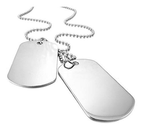 Colar Militar Exército Corrente Placa 2 Dog Tag Aço Inox