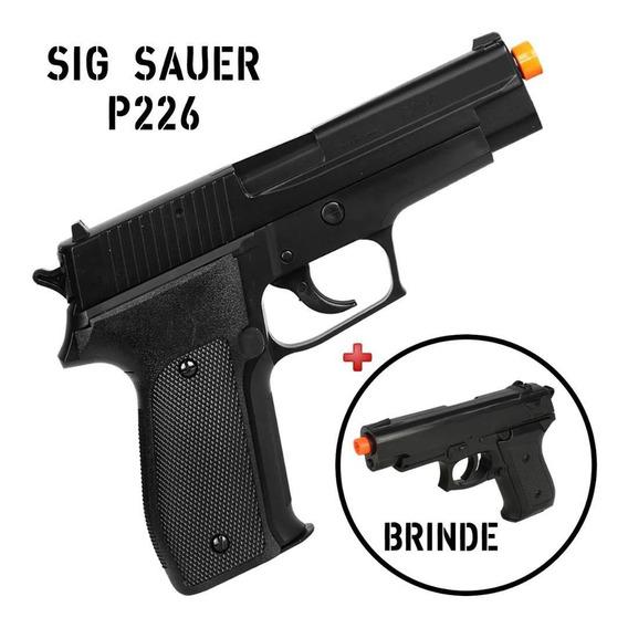 Pistola Airsoft Sig Sauer P226 Plástico 6mm + Pistola Brinde