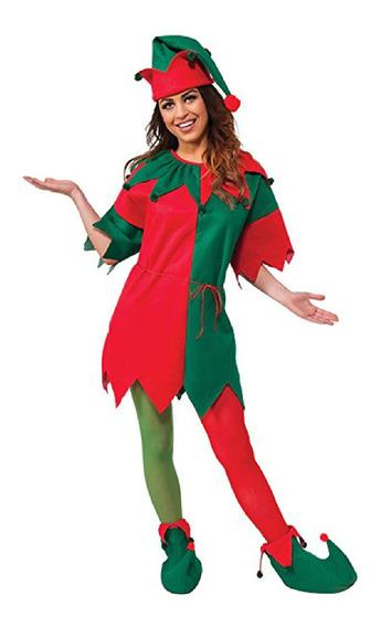 Disfraz De Duende Rojo Con Verde Bicolor Niña