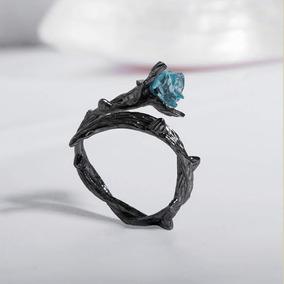 Anel Rosa Negra Com Espinhos Em Cristal Azul C/ Frete Barato