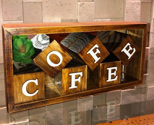 Mini Nicho E Cubos Coffee Letra Mdf Branco