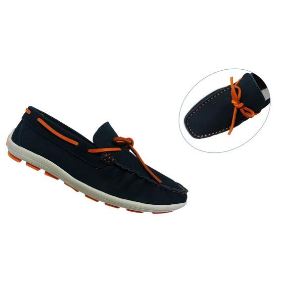 Sapato Mocassim Infantil Couro Pezão Azul Frete Off 009490