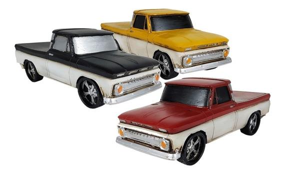 Pick-up Caminhonete Decorativa De Resina 3 Opções De Cores