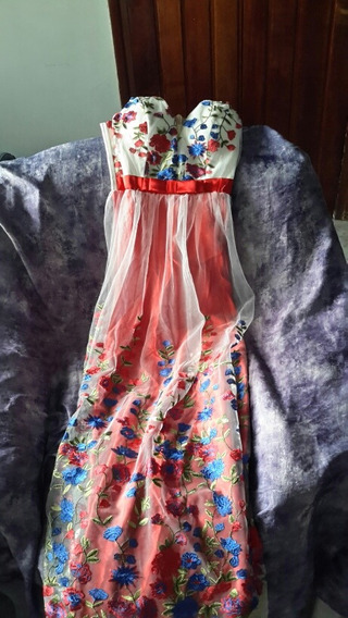 Vestido Importado De Fiesta Largo Estampado Con Tul