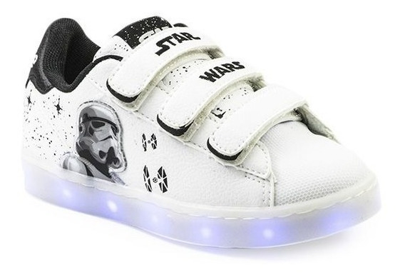 Zapatillas Addnice Led Usb Trooper Velcro 26 Al 29 Blanco