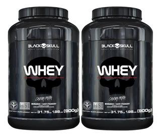 2x Whey Protein 900g Pote Caveira - Black Skull