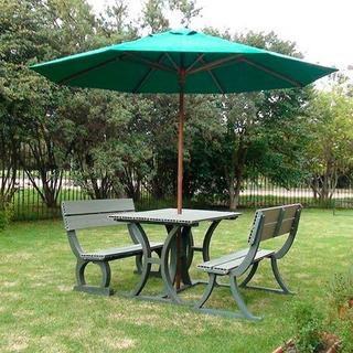 Sombrilla De Madera Y Lona Para Jardín 3m Verde Ó Crudo
