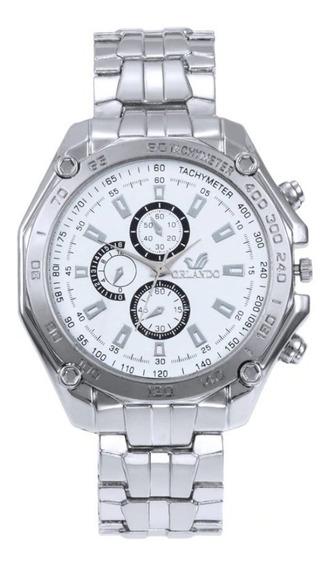 Relógio Masculino Pulseira Caixa Aço Cromo Orlando Barato