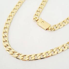 Corrente Masculina Banhada A Ouro E Pulseira Grumet 5mm